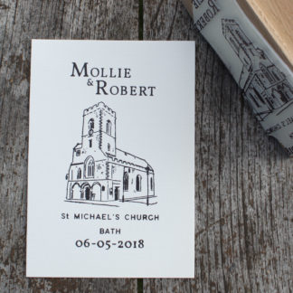 Hand drawn custom church save the date rubber stamp
