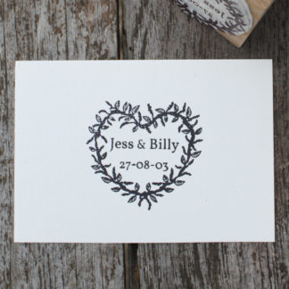 personalised heart wreath custom wedding favour rubber stamp