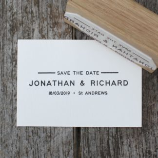 Custom Save the Date wedding favour rubber stamp