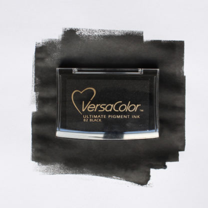 black versacolor ink pad with colour swatch on white background