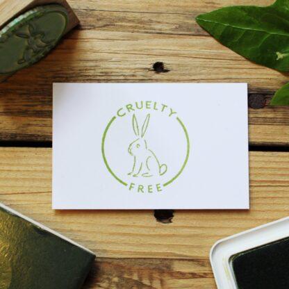 cruelty free round rubber stamp
