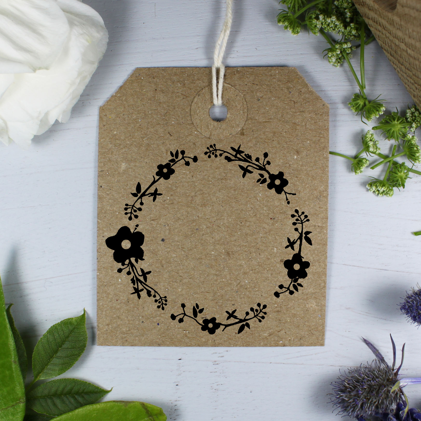 Motif stamp Leaf wreath  stamp gift pendant flower wreath  wooden stamp with floral wreath